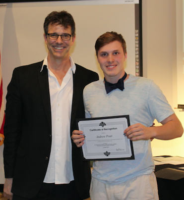 Dr. Jonathan Drahos (left) congratulates Andrew Pratt, recipient of the 2019 Kay McClanahan Endowed Memorial Scholarship in Dramatic Arts. Photo courtesy of Professor Sara Oswald.