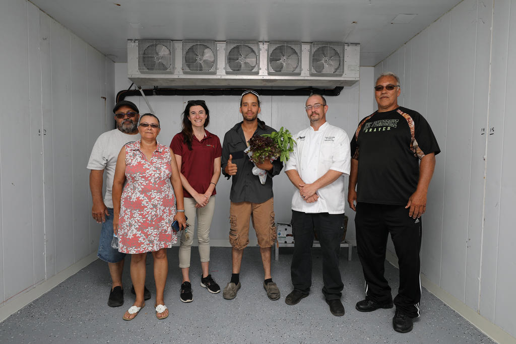 (left to right) Millard and Connie Locklear (New Ground Farms) Lauren Horning (FreshPoint) Roderick McMillan (MG3 Farms) Glenn Reynolds (Sodexo) and Thomas Hubbard (Carolina Organic Farms)