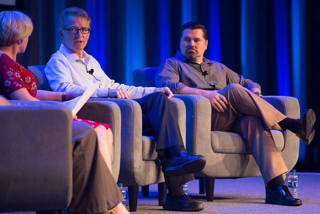 Kevin Pait, interim associate vice chancellor for Information Technology, and Don Bryant, chief information security officer, participate in a media panel discussion at Cisco LIVE 2019 in San Diego, Calif.