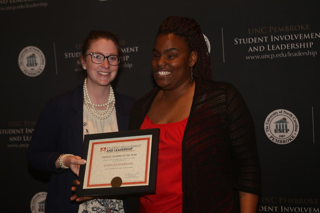 Graduate Student, Daria Bannerman, received the Unsung Leaders of the Year Award, 2017