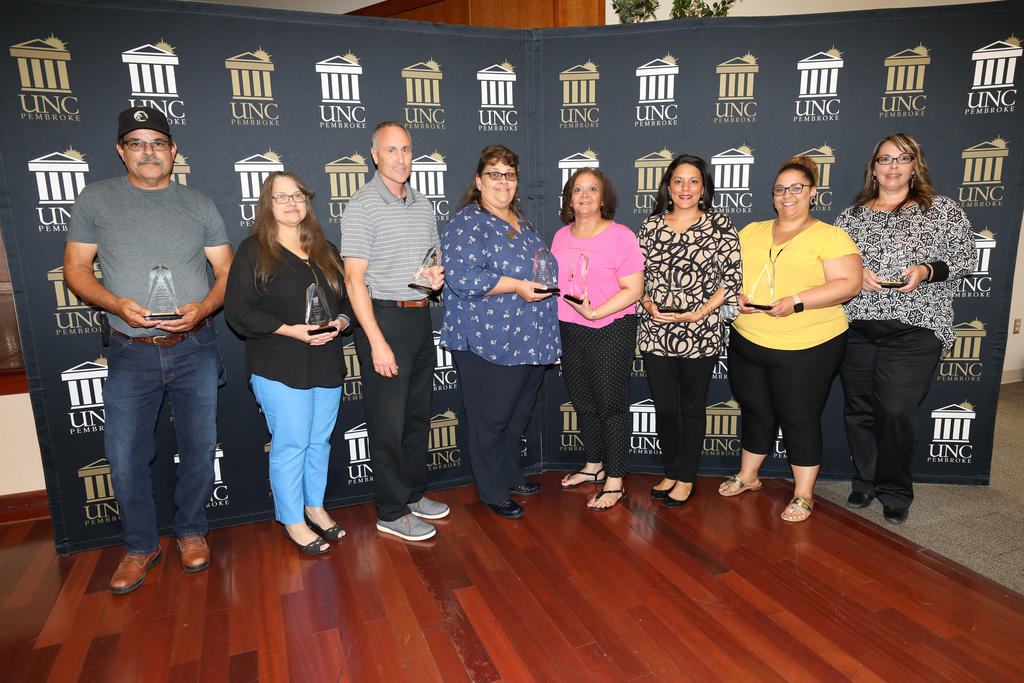 (left to right) Stan Locklear, Donna Strickland, Mike Clawson, Kay Strickland, Kim Hunt, Engle Revels, Danielle Nie and Saprina Oxendine were recognized during the Staff Awards Ceremony on June 6, 2019