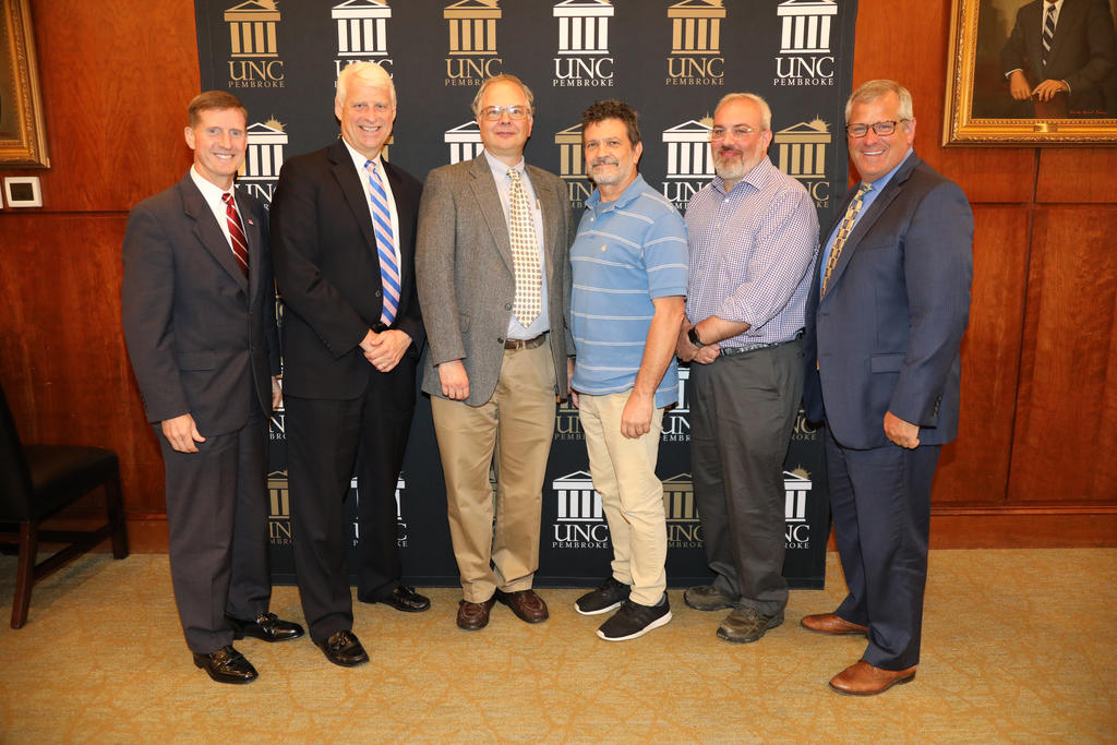 Left to right: Dr. Jerome Lavelle (NCSU) Jeff Frederick, Martin Farley, chair of the Geology and Geography Dept, Bill Brandon, associate professor, Chemistry and Physics Dept, Jesse Rouse, instructor, Geology and Geography Dept, and Provost David Ward