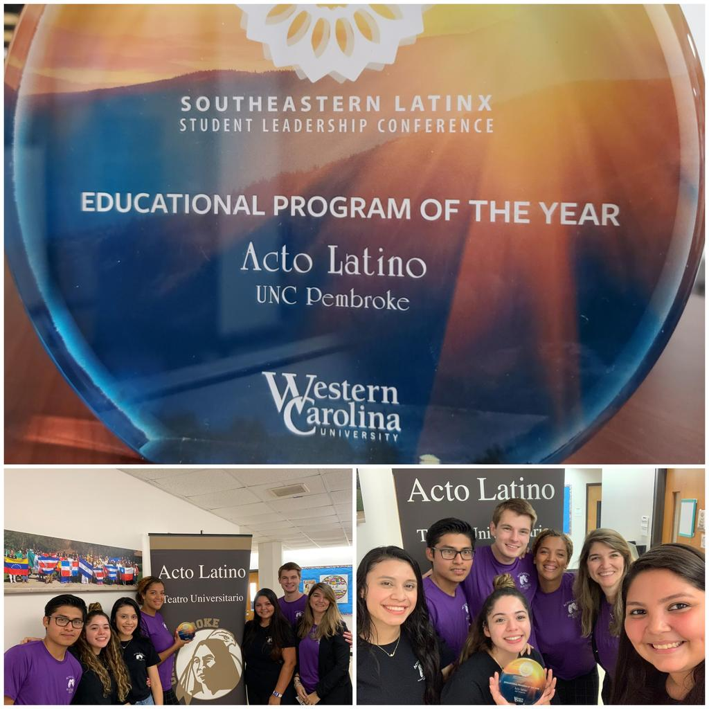 Our Spanish Theater Acto Latino was awarded the Educational Program of the Year from the Southeastern Latinx Student Leadership Conference from Western Carolina University. We are very grateful for this recognition and proud of our cast.