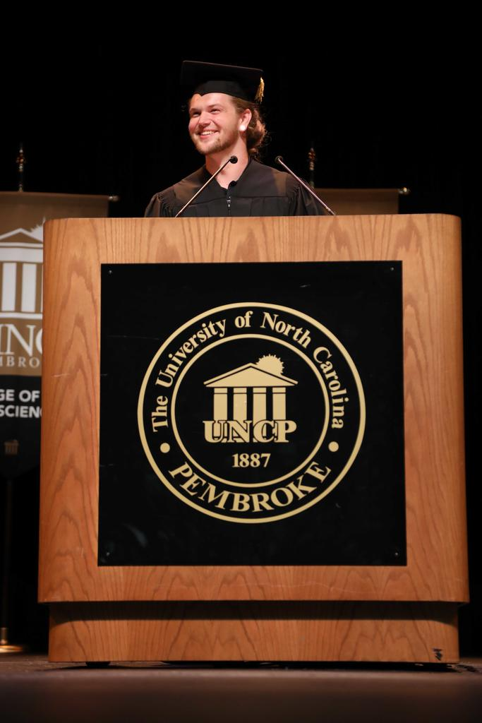 SGA President Thomas Crowe-Albritton offers greetings at Convocation on August 12, 2019