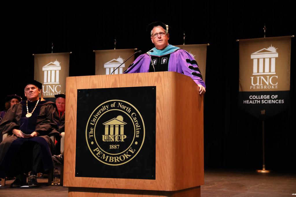 Provost David Ward offers advice during the 2019 First-Year Student Convocation ceremony
