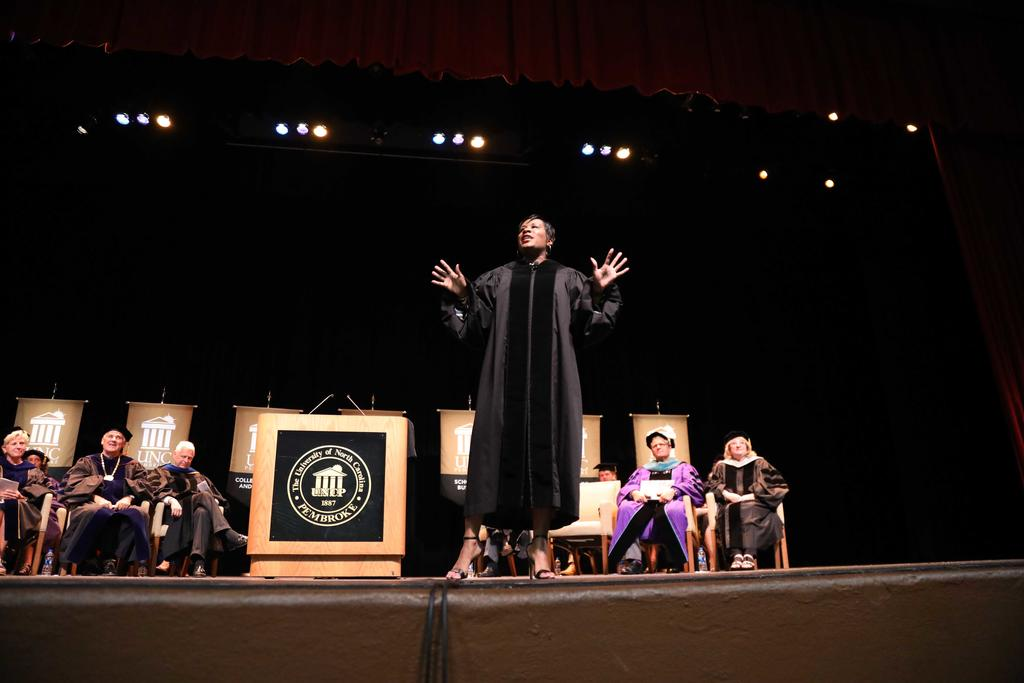 Motivational speaker Jovian Zayne implores students to resilient during their academic journey at UNCP