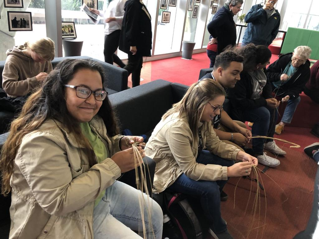 Chandra Jacobs, Caylee Holden, Brent Locklear, Taylor Strickland, and Cindy Paul at a weaving workshop on the Swinburne University campus, conducted by Ngarrindjeri elders.