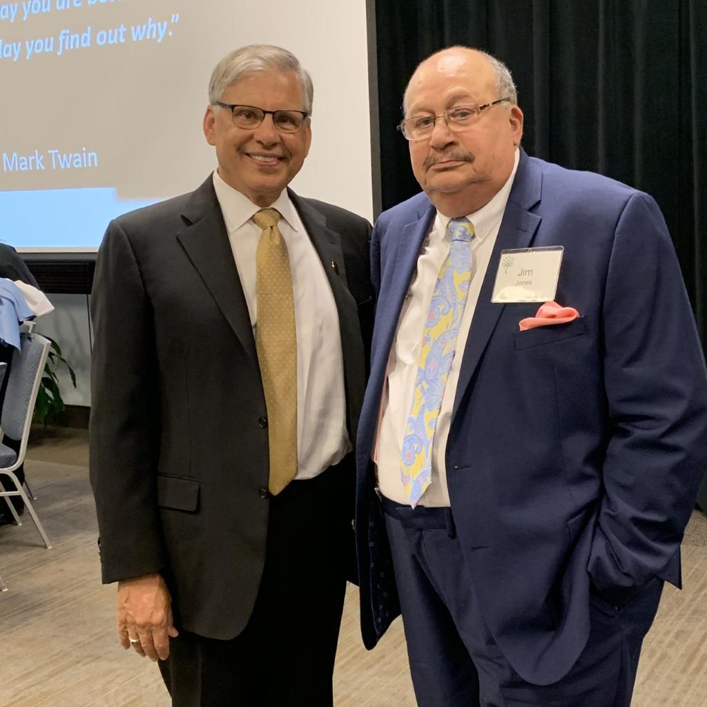UNCP Chancellor Robin Gary Cummings, left, with former UNCP Trustee and colleague Dr. Jim Jones at the 14th annual Jim Bernstein Health Leadership Dinner