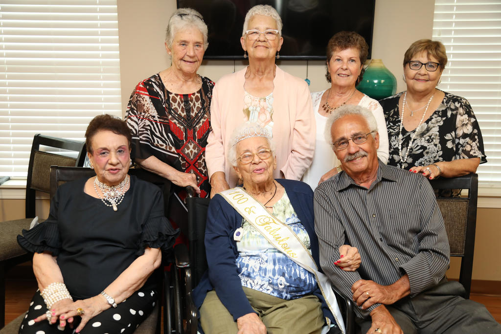 Beulah Ransom Kemerer poses with her family during her 100th birthday celebration in Newton Grove. (Seated) Elsie Leasure, left, Beulah and Jerry Deese. (Standing) Deborah Brooks, left, Jean Swinson, Cathy Deese and Eldis Ransom