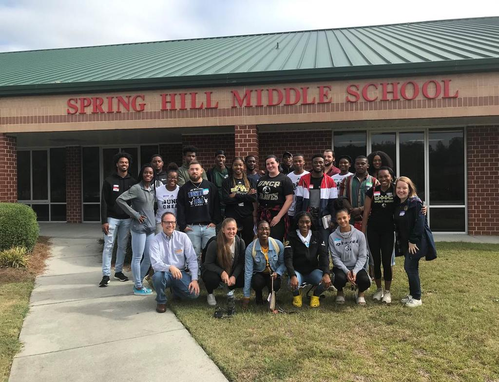 Students enrolled in Dr. Scott Hicks' African American Literature course conducted a creative writing workshop at Spring Hill Middle School on October 9.