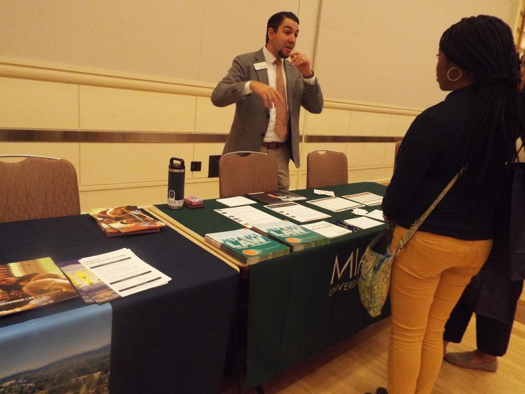 UNCP student Namya Stamps gathers information about Miami Law