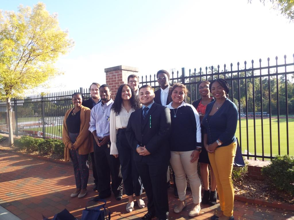 Pictured are members of the Pembroke Pre-Law Society-Kayla Bend, Adonis Johnson, Tasia Mears, Jessie Vargas, Cristina Melchor-Ortiz, Namya Stamps, Andrew Nemeth, Jonathan Swann, Michael Davis and Jocelyn Ash.