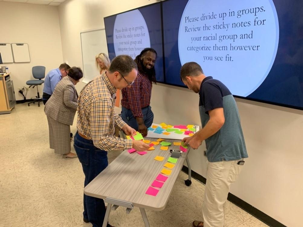 Dr. Scott Hicks, Dr. Jeffrey Warren, and Rezelle Gore engage in a session activity during the Culturally Responsive Teaching in Higher Education