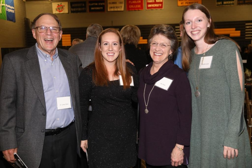 Scholarship recipients Katy Flax and Casey Burroughs met their award donors Dr. Lacey Gane and wife, Jan, during the the 15th annual Scholarship Recognition Dinner on November 21, 2019