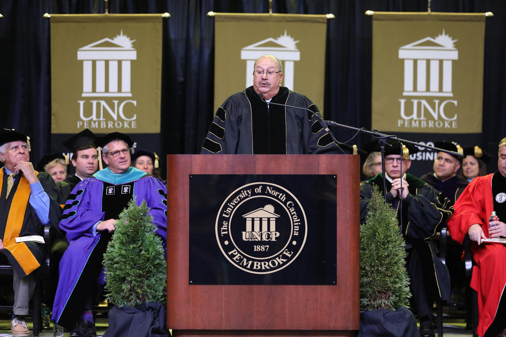 "Dr, James ""Jim"" Jones delivers the keynote address during the 2019 Winter Commencement"
