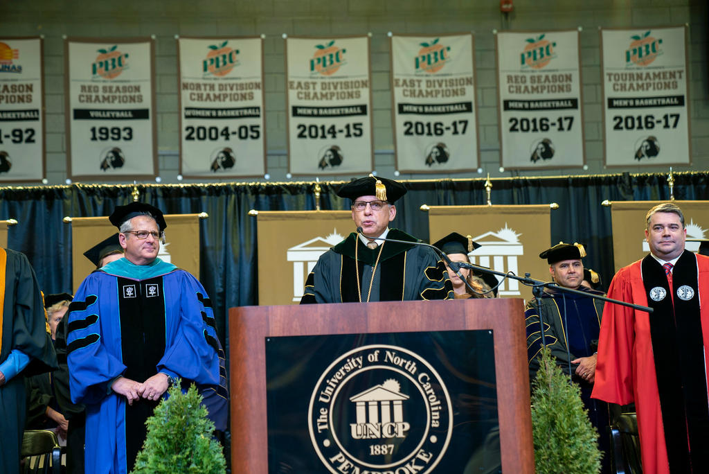 Chancellor Robin Gary Cummings offers encouraging remarks at the 2019 Winter Commencement