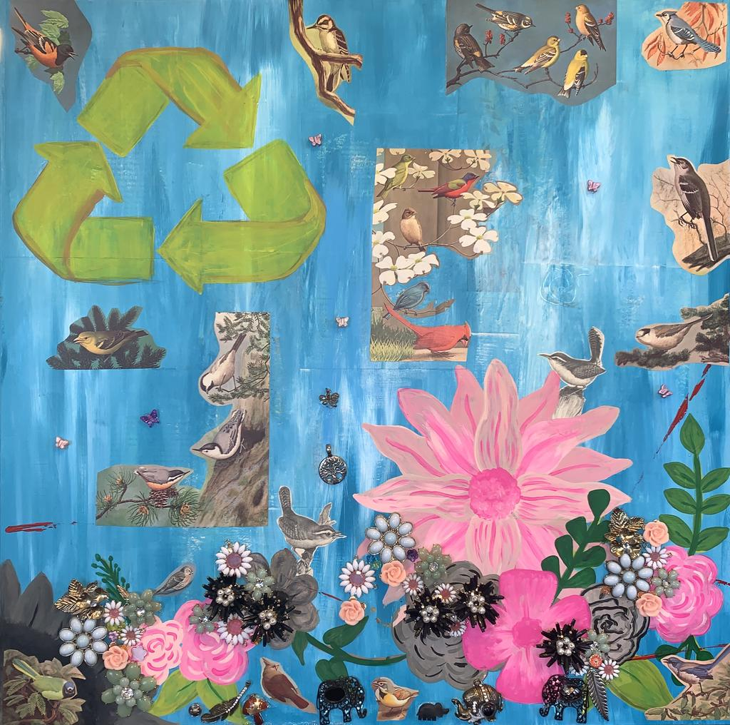 "Emmaline Mansfield, ""Wasteful or Recycling (You can't love mother earth and exploit her),"" 2020, 27 x 26.5 inches"