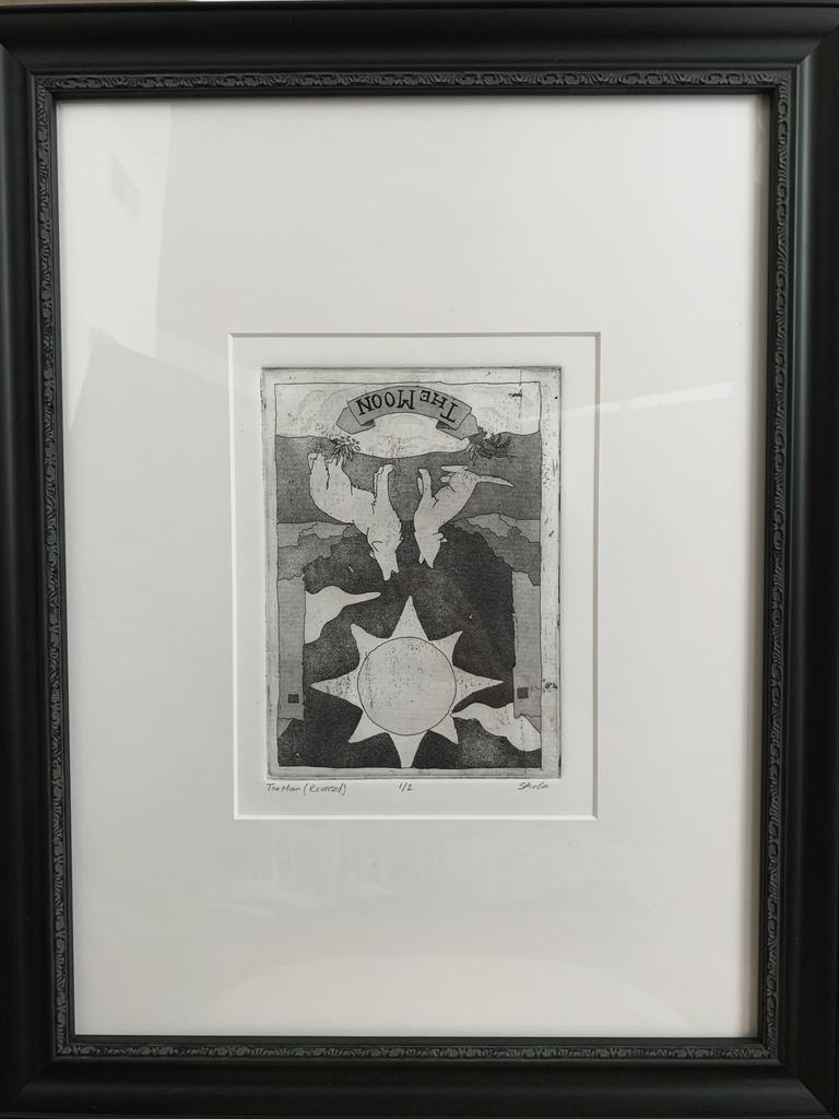 "Priscila Rivera, ""The Moon Reversed)"" 2020, intaglio, 16 x 12 inches"