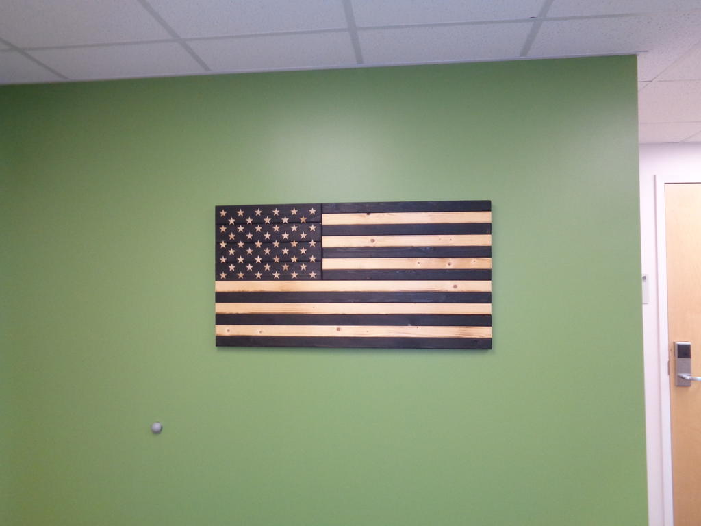 Wood carved American Flag