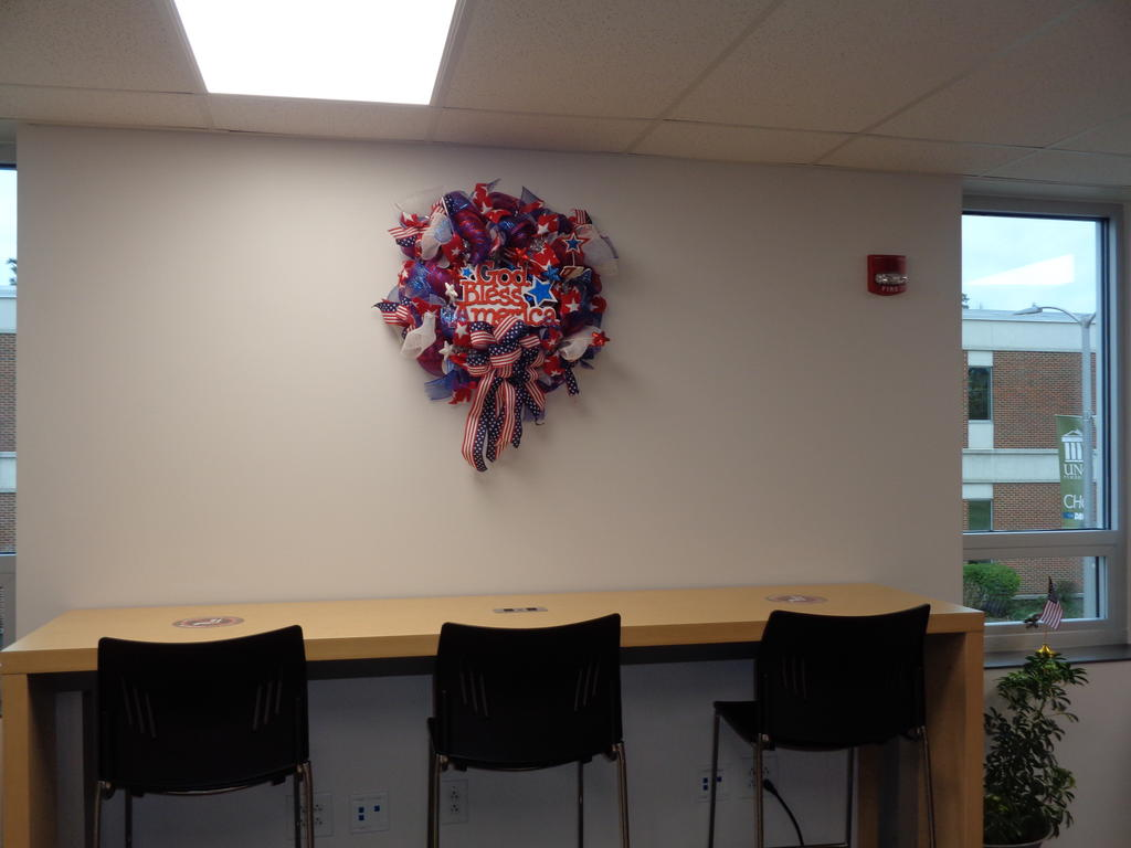 Patriotic wreath in Rally Point Veterans Resource Center