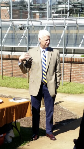 Dean Jeff Frederick provided remarks at the Open House celebrating the greenhouse and its uses.