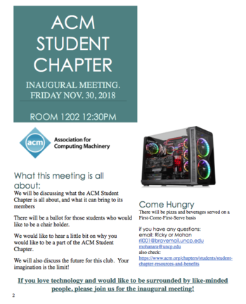 ACM Student Chapter flyer
