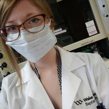 Jessica Dean prepped for cancer research in the Cancer Biology Department at Wake Forest University